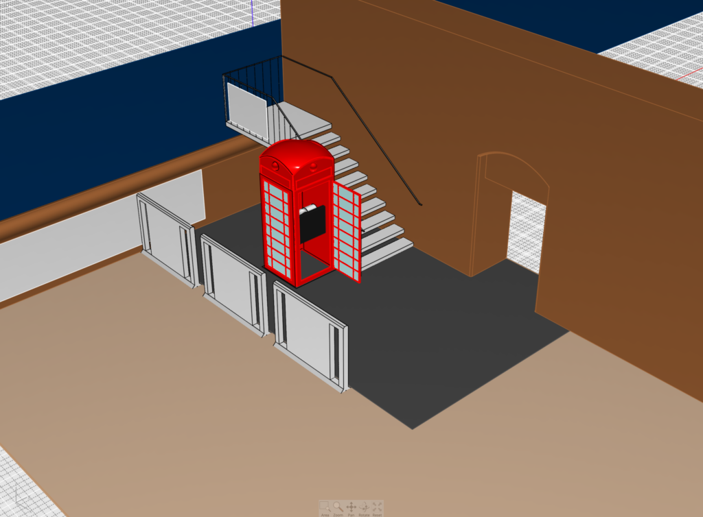 Computer Aided Design of the telephone box with the group's idea of an interactive screen.